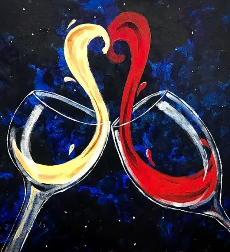 Un cuadro de dos copas, una con vino rojo y otra con vino blanco formando un corazón a medio brindis