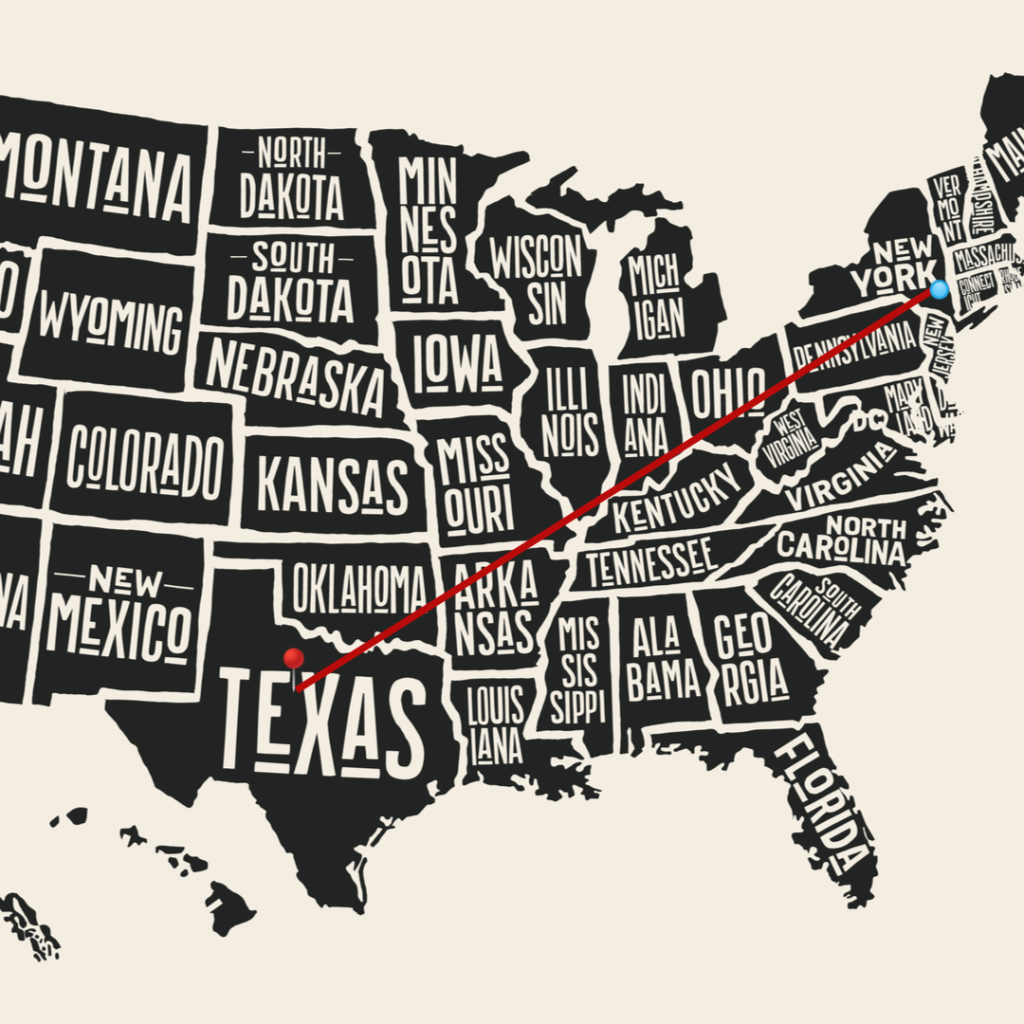Image of US map with a line going from new York to Texas
